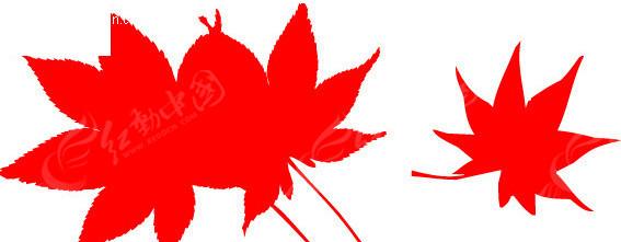 红色枫叶剪影eps免费下载_花草树木素材