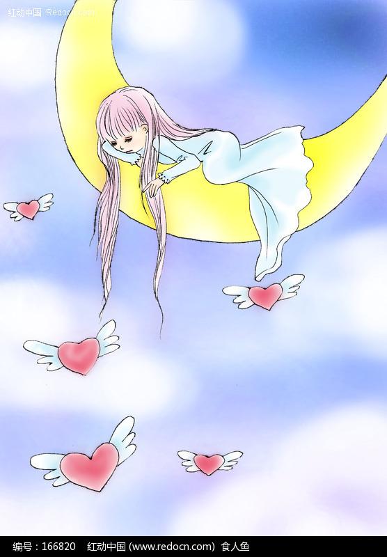 月亮上的小女孩绘画欣赏