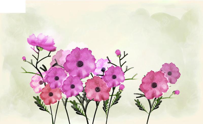 韩国手绘分层花朵