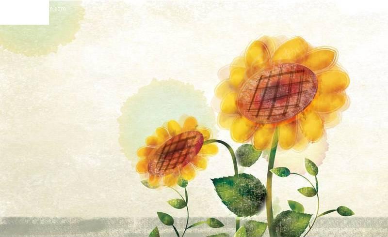 手绘向日葵_植物