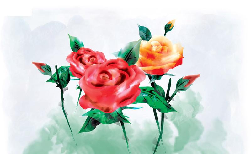 psd手绘玫瑰花图片