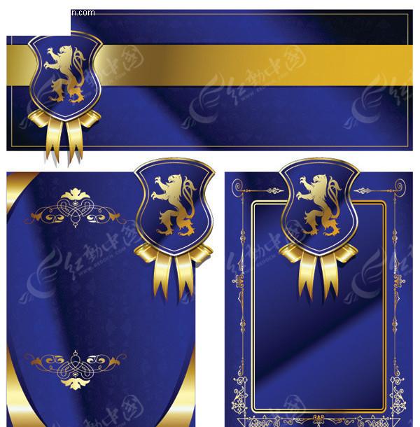 皇室 盾牌 欧式花纹花边 欧式花边边框 丝带 绸带 蓝色渐变背景 矢量