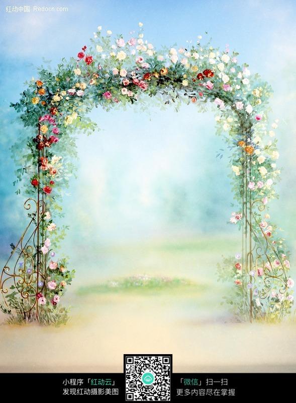 手绘风格的花藤鲜花花门图片