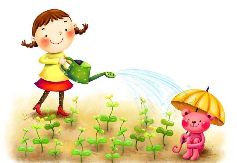 卡通浇花的小女孩 矢量人物-拿着喷壶浇花的 格子背景上的手绘花枝小