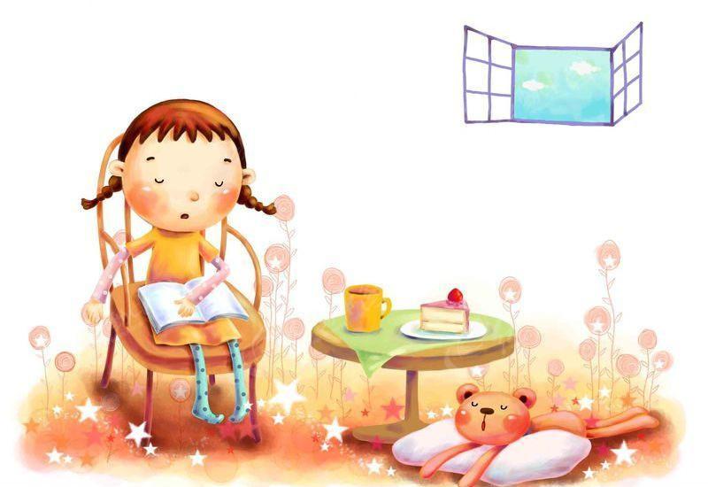 看书的女孩PS卡通插画图片