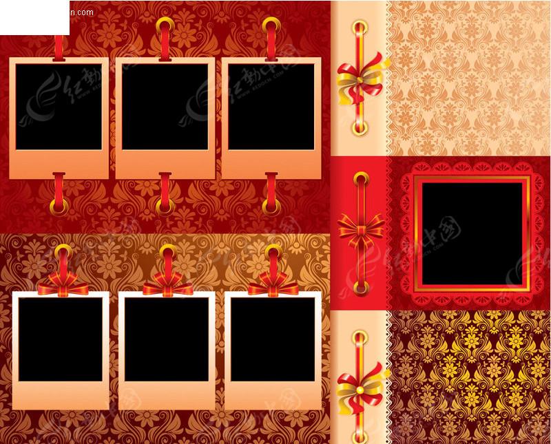 欧式 华丽 花纹 墙纸 金色 古典 复古 丝带 蝴蝶结 宝丽来 边框 相框