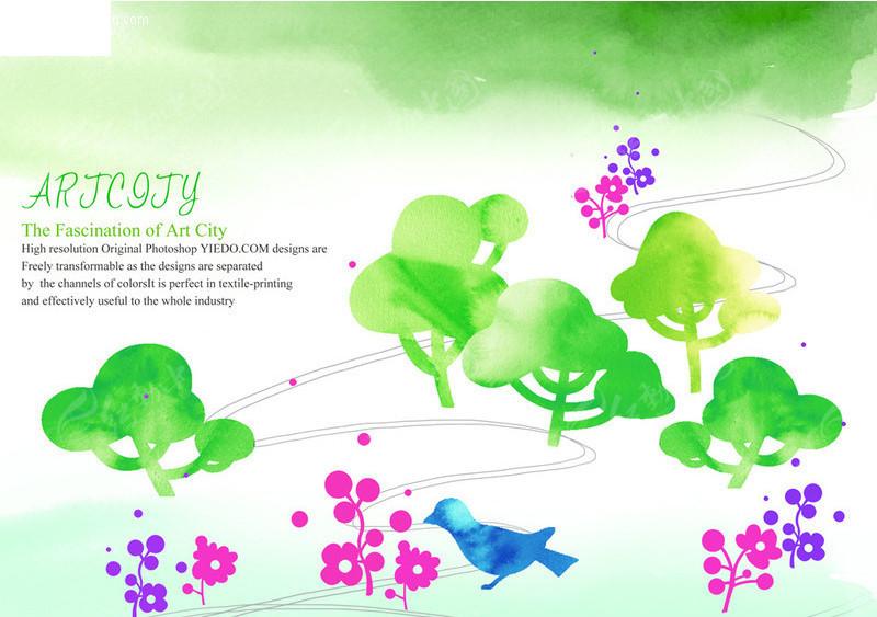 手绘涂鸦小鸟与大树