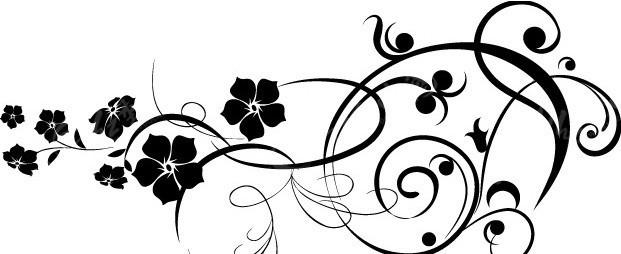 花纹黑白素材矢量图