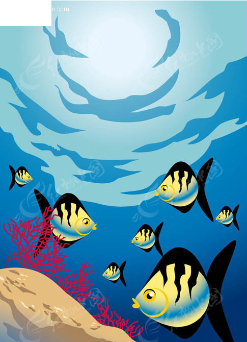 海底的漂亮海水鱼矢量图 水中动物