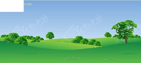 青青草原上的大树EPS素材免费下载 红动网