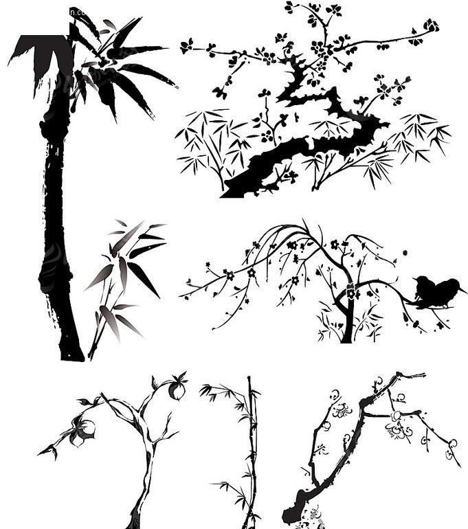 黑白植物剪影