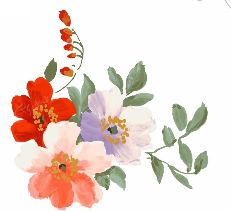 手绘花朵psd素材