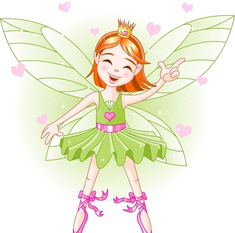 卡通飞舞的小蝴蝶美女 卡通人物矢量图下载 175171