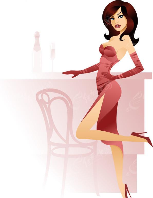 性感卡通美女矢量图 女性女人