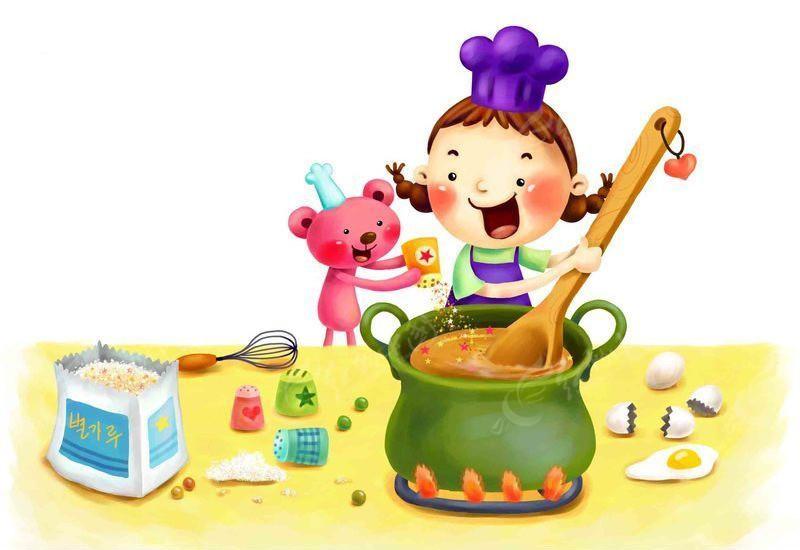 厨房小女孩插画