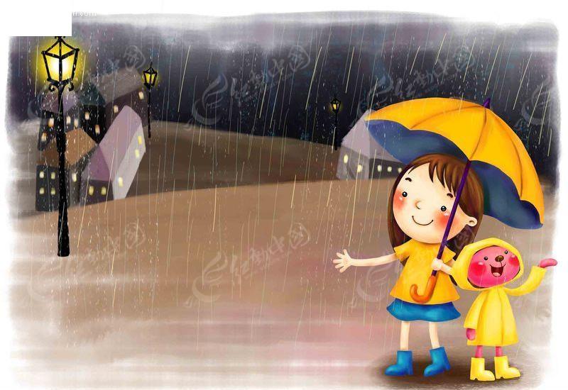 古装撑伞女生手绘