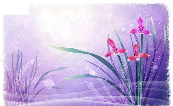 唯美手绘紫色背景图片