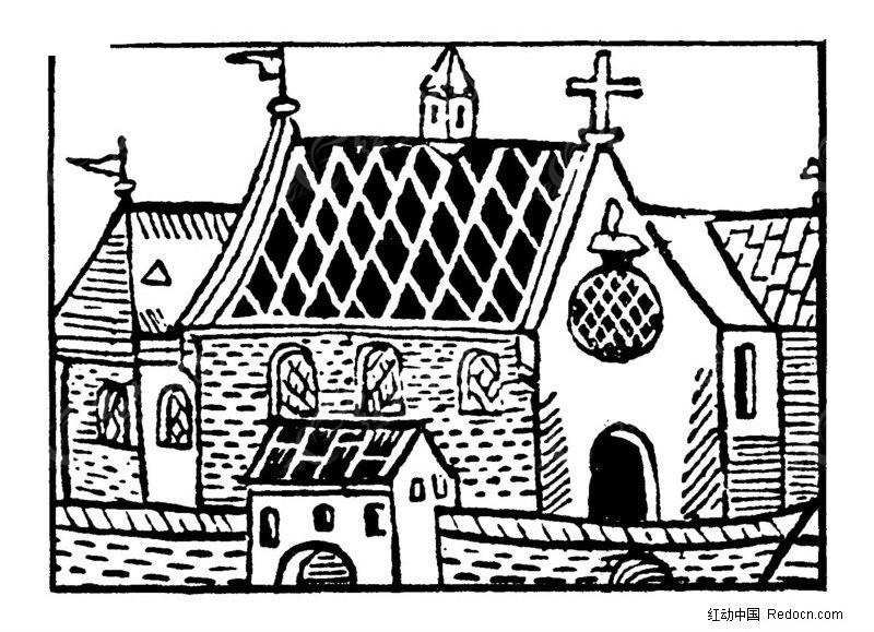 古代房屋矢量图案素材-传统图案 纹样矢量图下