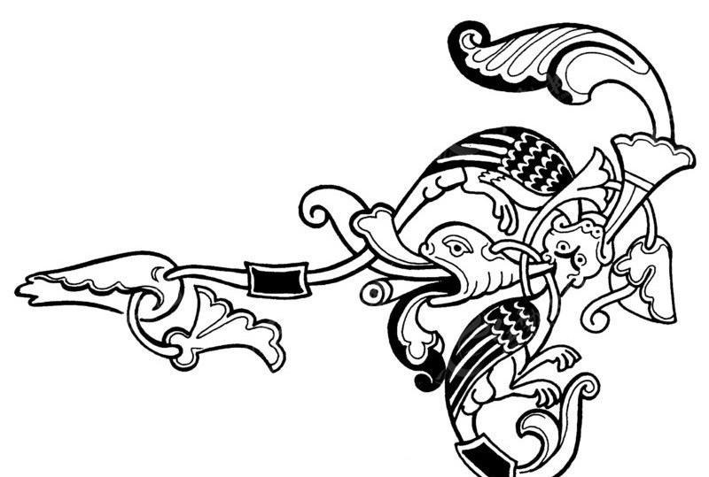 矢量古神兽图案素材