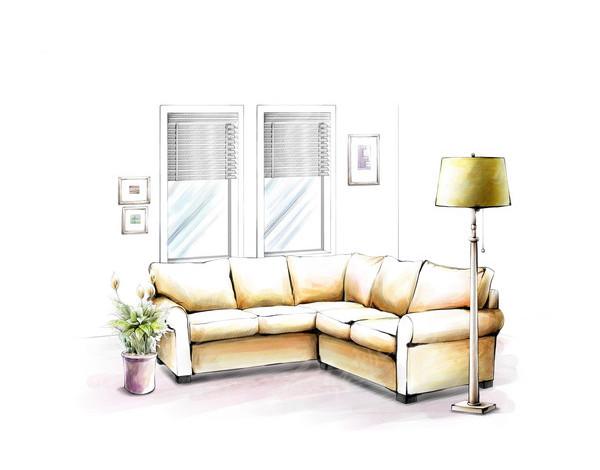 客厅沙发手绘效果国