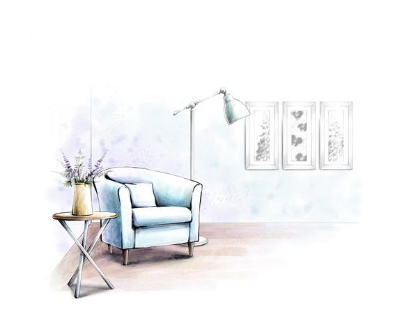 书房沙发手绘效果国psd免费下载_室内设计素材图片