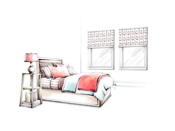 卧室床手绘效果国