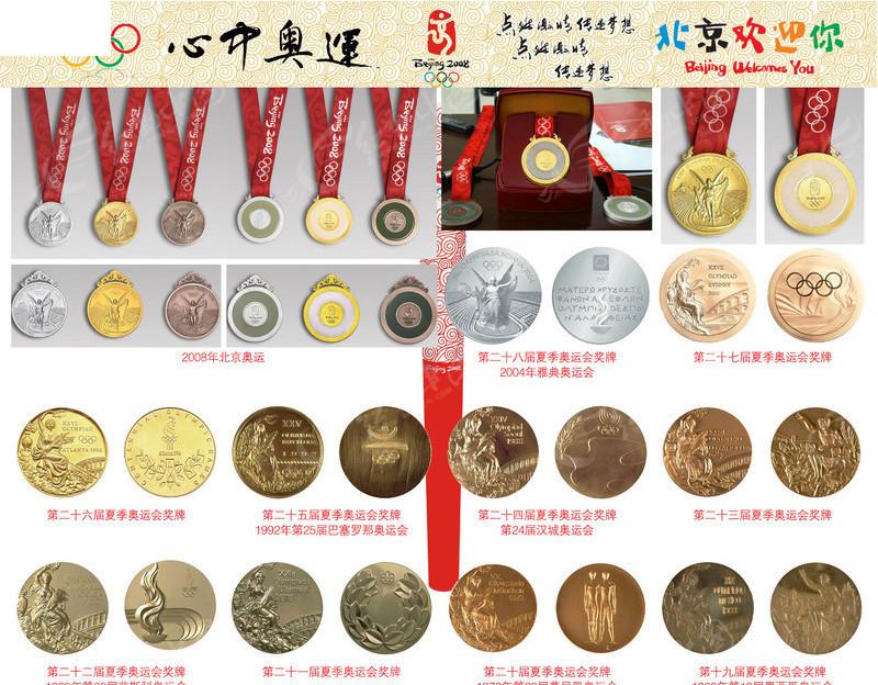 各届奥运会奖牌素材 金牌 银牌 铜牌图片