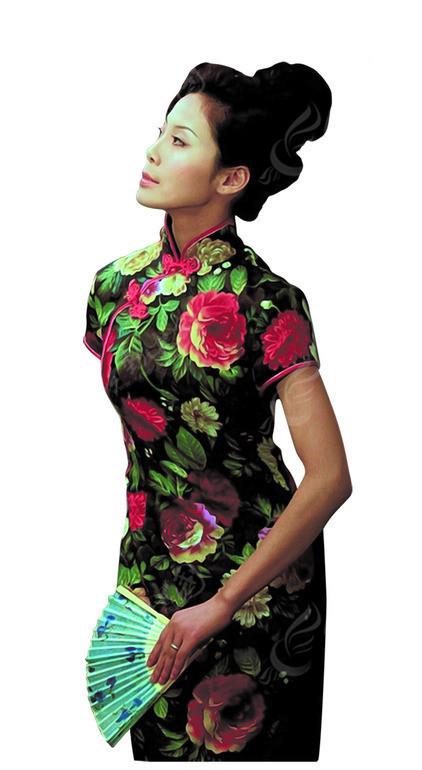 牡丹旗袍美女素材