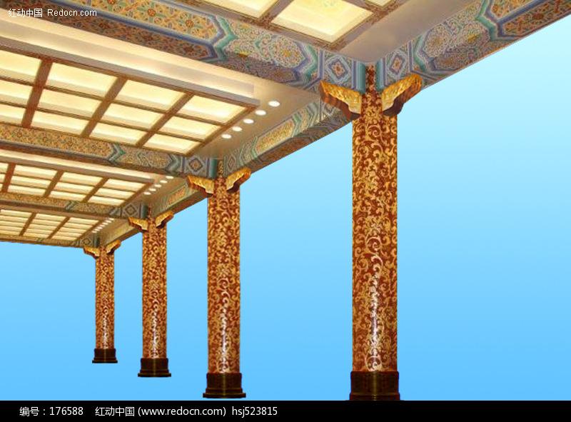 中式装饰柱与顶部图案图片-环境图片|图片库|图; 中式柱子装饰效果图图片