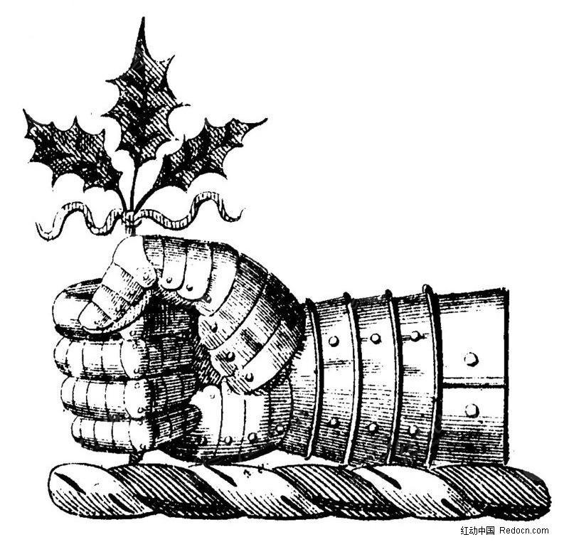 手握树叶的战士手矢量素材图片