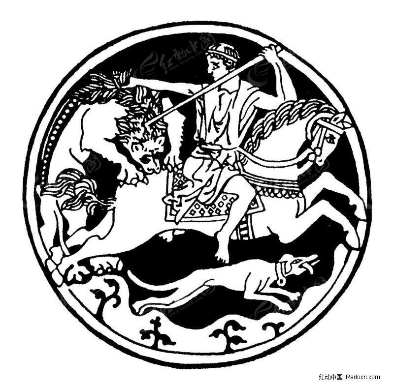 狩猎的古人物素材矢量图_传统图案