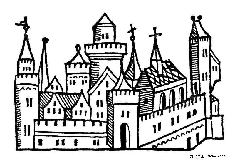 矢量古建筑素材 欧式风格建筑 古代城堡 城堡 传统图案 矢量素材