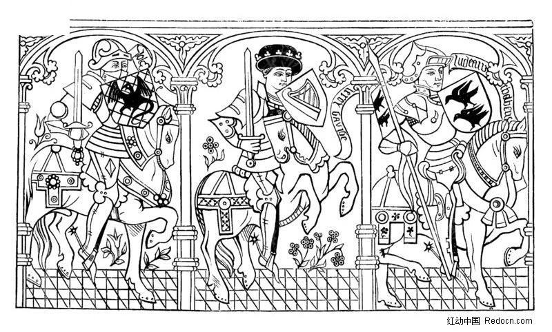 欧州古代壁画人物素材