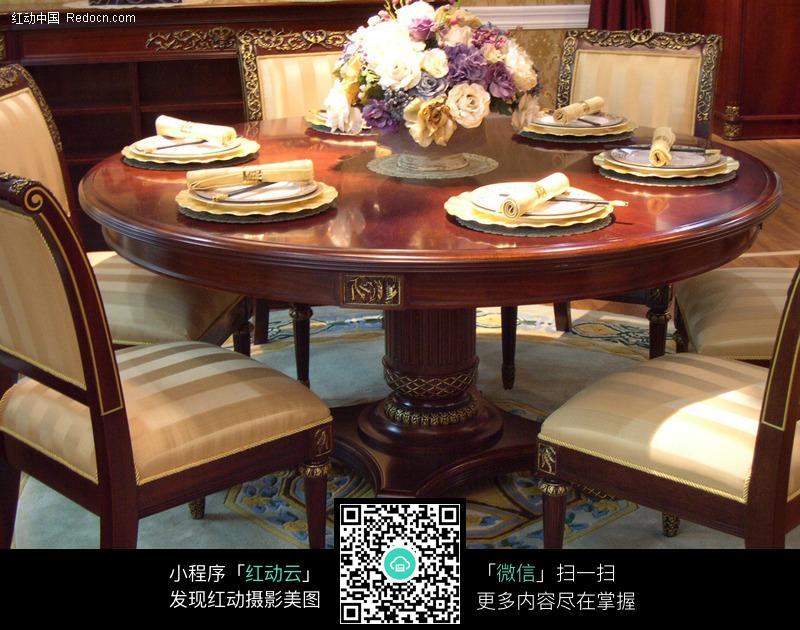 红木圆型餐桌图片