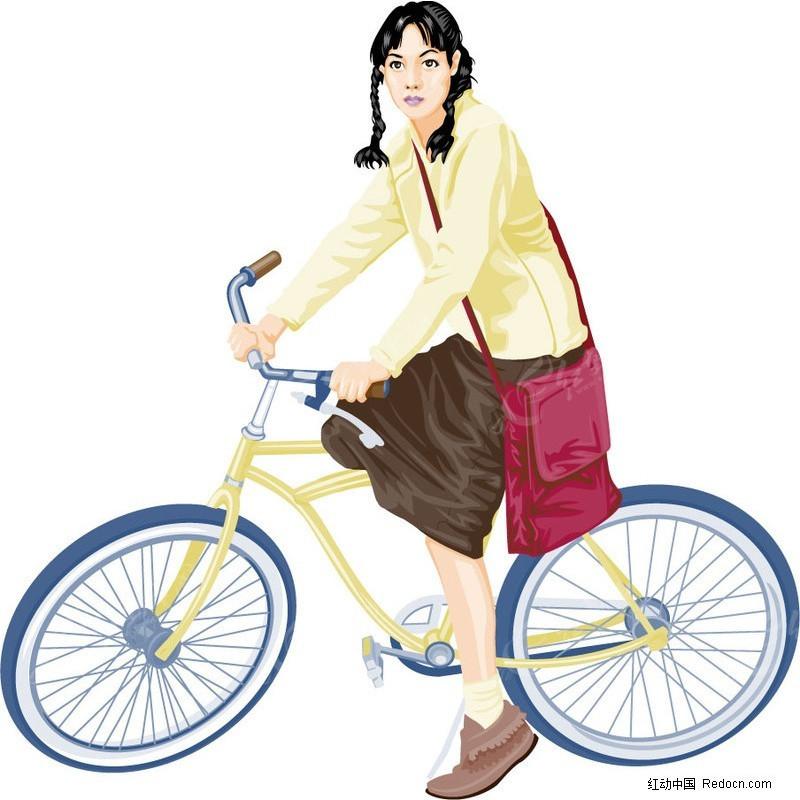 骑着自行车的女孩子