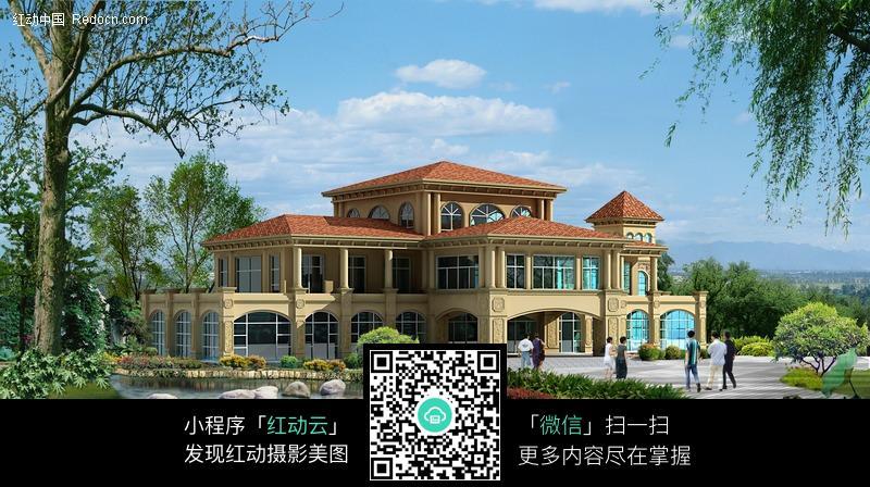 欧式别墅建筑效果图图片
