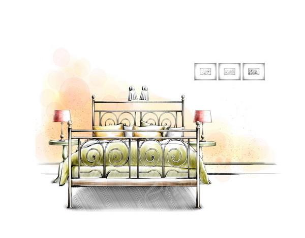 卧室铁艺床手绘效果图