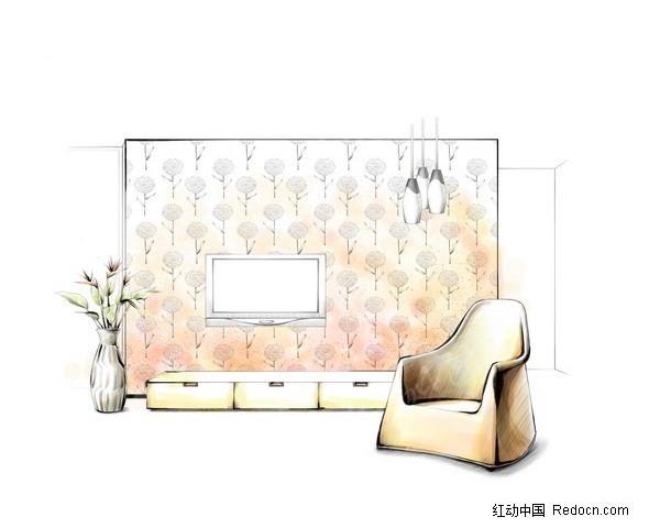 客厅电视墙设计手绘草图