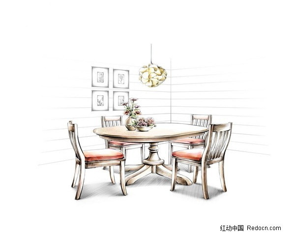 餐桌设计手绘草图