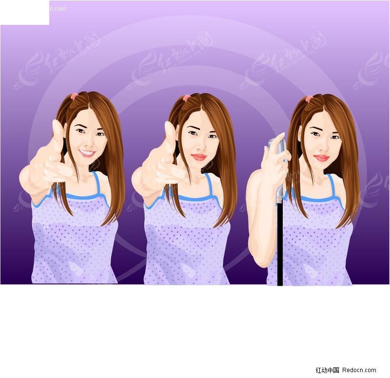 免费素材 矢量素材 矢量人物 女性女人 美女手势  请您分享: 素材描述