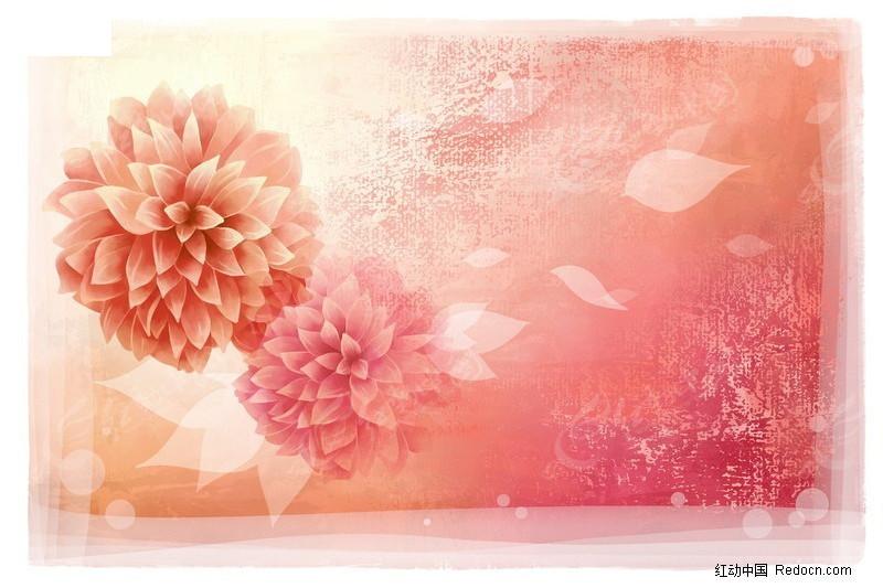 手绘盛开的花朵背景_底纹背景