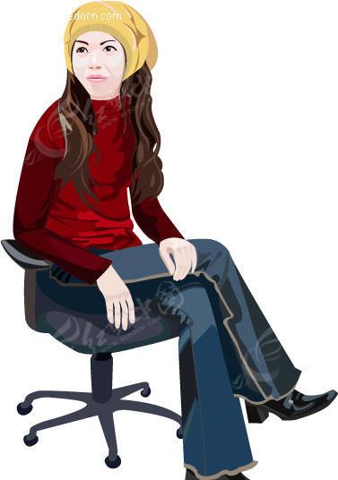 坐在椅子上的女人