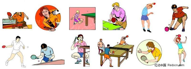 乒乓球女选手招聘插画下载崇礼滑雪场击球图片