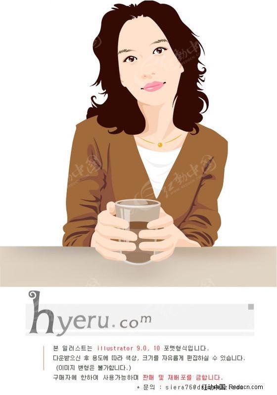 免费素材 矢量素材 矢量人物 女性女人 捧着玻璃杯的女人  请您分享图片