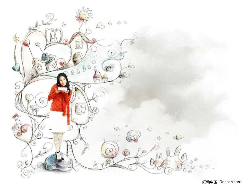 潮流 美女 花纹 青春女孩 手绘卡通风景 都市插画风景 韩国素材  人物