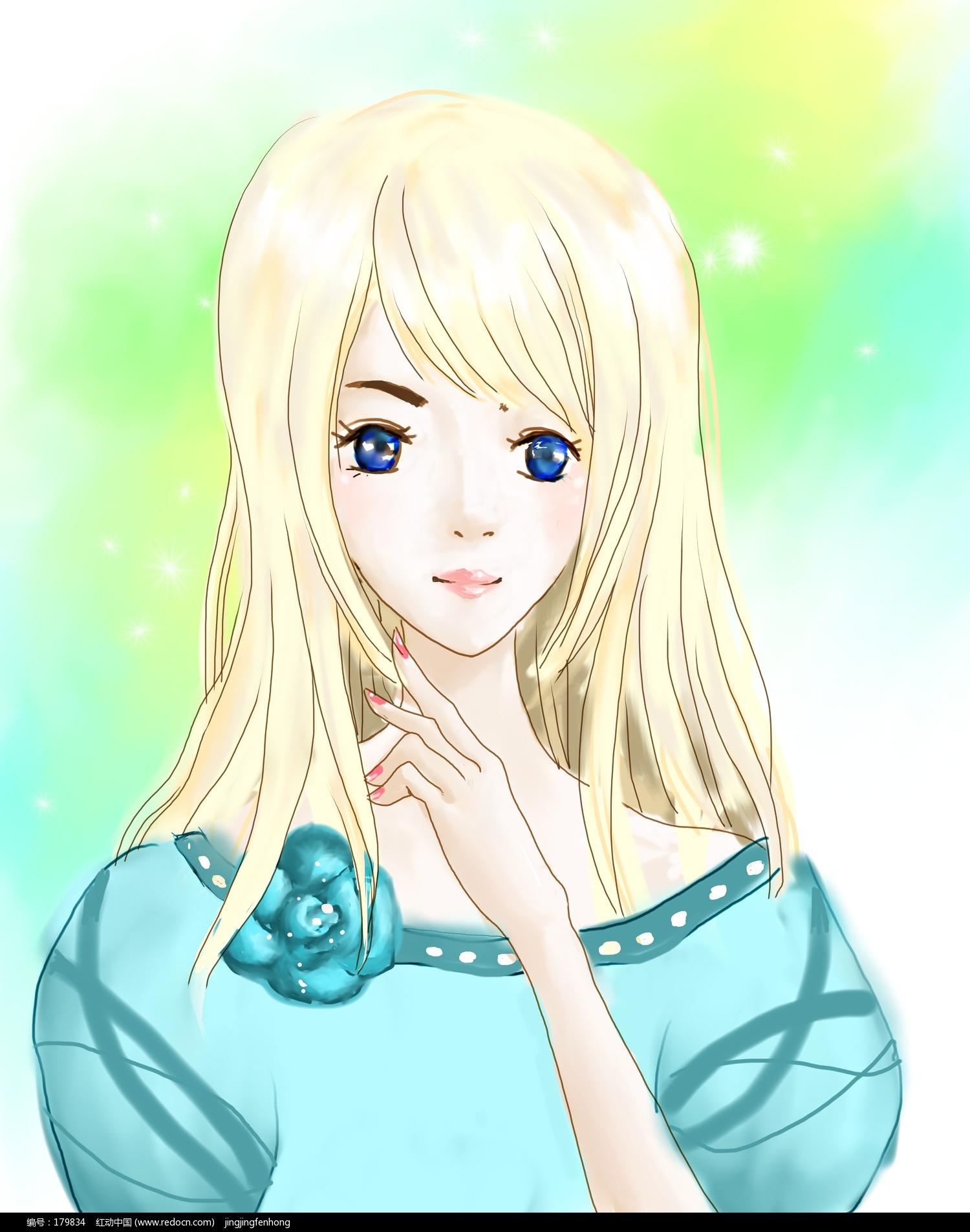 青涩女孩绘画欣赏_卡通动漫