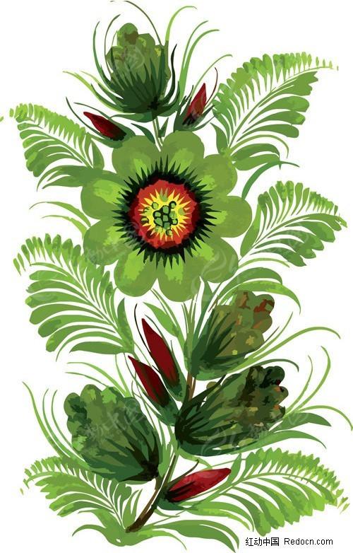 手绘风格花卉装饰矢量素材