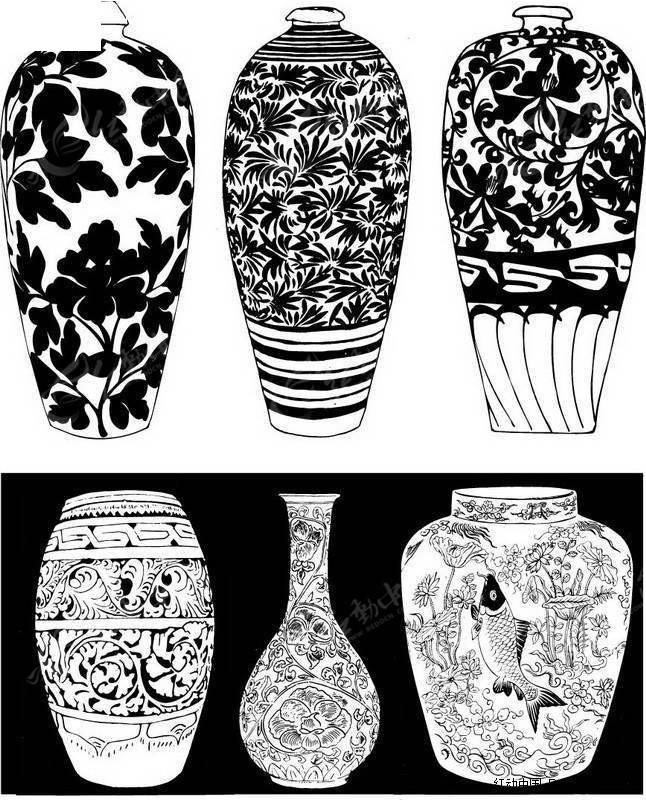 手绘原始陶器橙色纹样