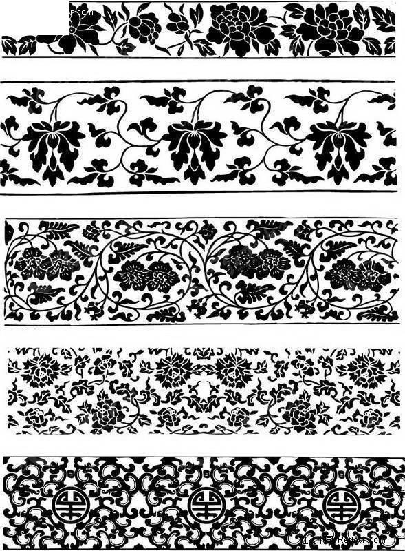 中国古式二房连续纹饰 传统图案 纹样矢量图下载 184682