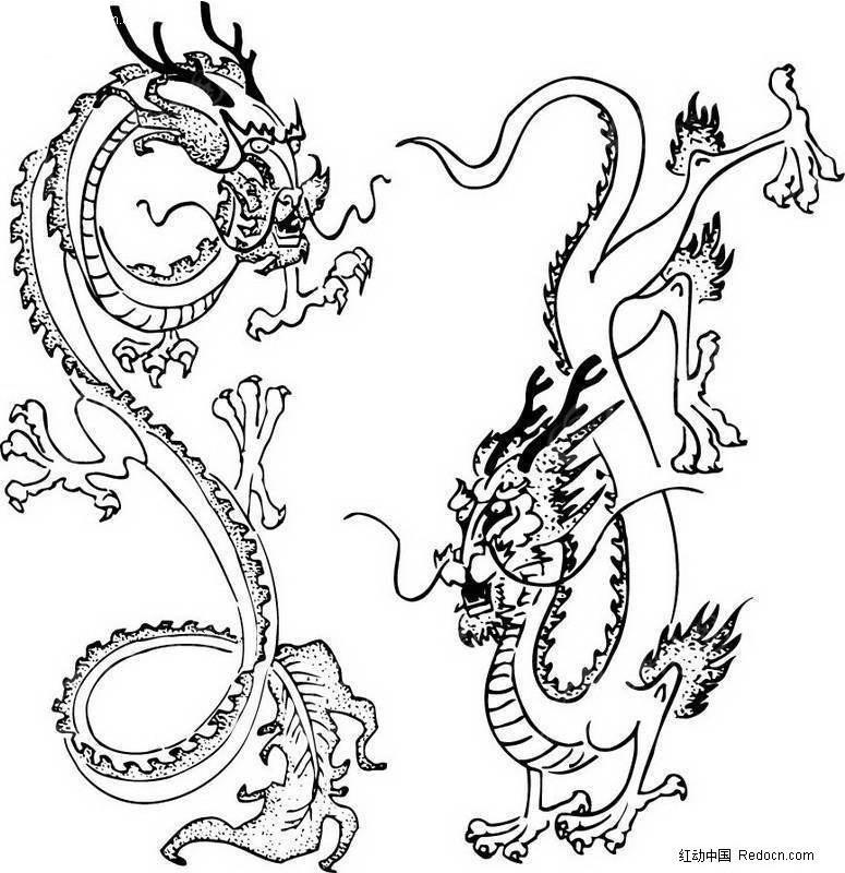 中国古典龙腾图案